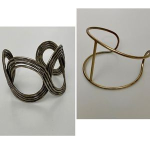 Two bangle bracelets - silver and gold